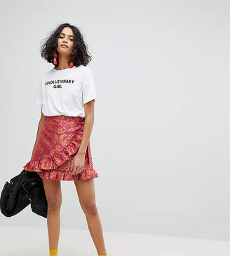 Reclaimed Vintage Inspired Wrap Front Skirt In Brocade