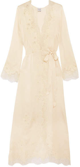 Carine Gilson Carine Gilson - Chantilly Lace-trimmed Silk-satin Robe - Cream
