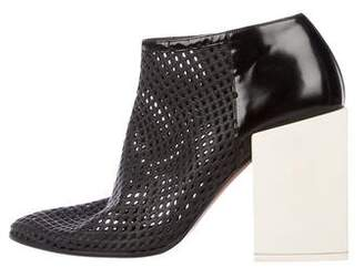 Balenciaga Laser Cut Round-Toe Ankle Boots