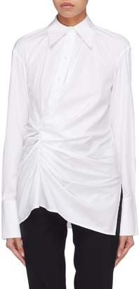 Helmut Lang Gathered drape half button placket shirt
