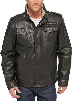 Levi's Levis Men's Sherpa-Lined Faux-Leather Military Jacket