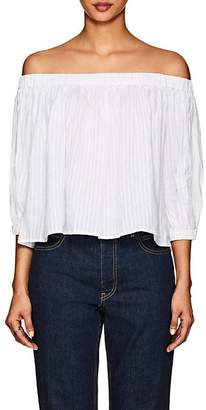Frame Women's Striped Linen-Blend Off-The-Shoulder Top