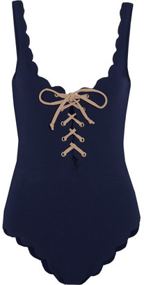 Palm Springs Lace-up Scalloped Swimsuit - Navy