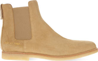 Common Projects Mens Sand Suede Crepe Chelsea Ankle Boots