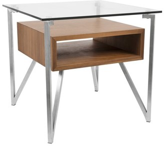 Lumisource Hover Contemporary End Table with Brushed Stainless Steel Frame, Walnut Wood Shelf, and Clear Glass Top