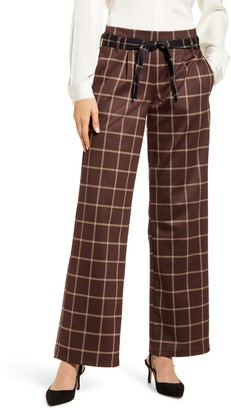 Hue Plaid Belted Wide Leg Pants
