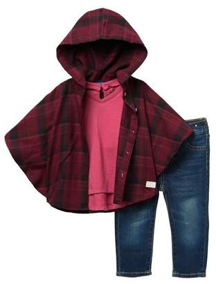 7 For All Mankind Plaid Poncho 3-Piece Set (Baby Girls)