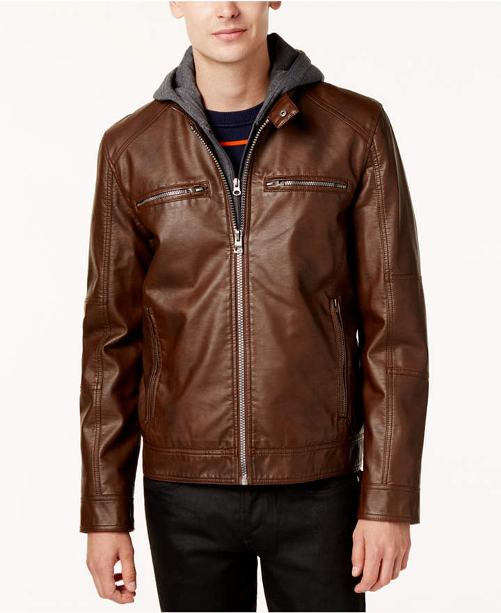GUESS Men's Faux-Leather Detachable-Hood Motorcycle Jacket ...