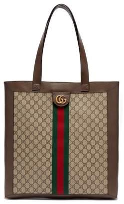 Gucci - Gg Supreme Leather And Canvas Tote - Mens - Brown Multi