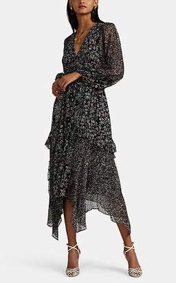 Ulla Johnson Women's Primrose Floral Swiss-Dot Silk-Blend Dress - Black