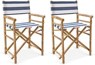One Kings Lane Set of 2 Director's Bamboo Chairs - Blue/White