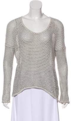 Helmut Lang Linen-Blend Open Knit V-Neck Sweater