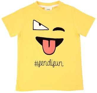 Fendi Emoji Printed Cotton Jersey T-Shirt