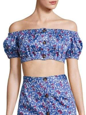 Peserico Wildflower Gio Off-The-Shoulder Crop Top