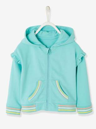 Vertbaudet Hooded Jacket with Zip and Frills for Girls