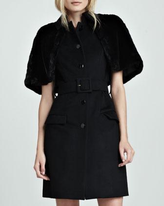 Nonoo Fox Fur-Trim Cape Coat