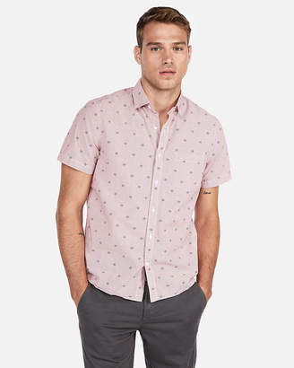 Express Classic Geometric Striped Short Sleeve Shirt