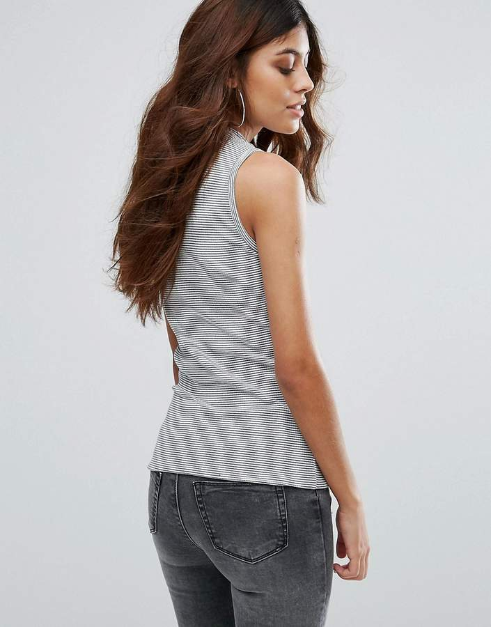 Only Lilie High Neck Stripe Sleeveless Tank Top