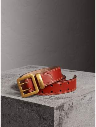 Burberry Topstitch Detail Leather Belt , Size: 75, Orange
