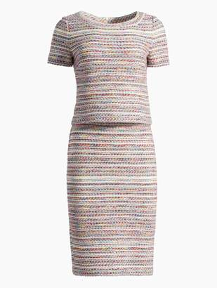 St. John Flag Tweed Knit Short Sleeve Dress