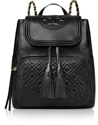 Tory Burch Black Quilted Leather Fleming Backpack