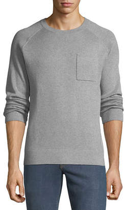 Neiman Marcus Men's Crewneck Raglan Pocket Organic Cotton Pullover Sweater
