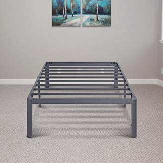 PrimaSleep 14 Inch Tall PT-2000 Simple and Sturdy Steel Slat NON-SLIP Round Edge Metal Bed Frame