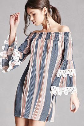 FOREVER 21+ Off-the-Shoulder Striped Dress $48 thestylecure.com