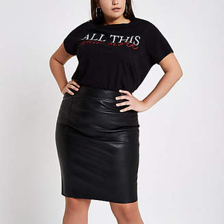 0bb985fee3073 at River Island River Island Womens Plus black faux leather pencil skirt