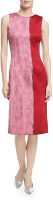 Oscar de la Renta Sleeveless Colorblock Sheath Dress