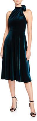 Black Halo Audrey Velvet Tie-Neck Sleeveless Dress
