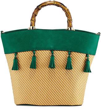 Neiman Marcus Cozumel Woven Tassel Satchel Bag