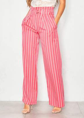Missy Empire Missyempire Adrianna Coral Pinstripe High Waist Wide Leg Trousers
