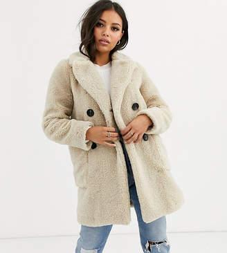 New Look Petite button front borg coat in cream