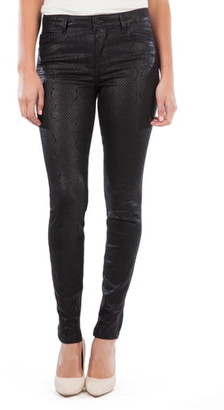 KUT from the Kloth Mia Coated Snakeskin Print High Waist Ankle Toothpick Skinny Jeans