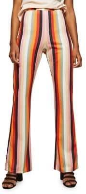 Miss Selfridge Rainbow-Striped Flared Trousers