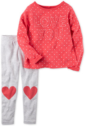 Carter's 2-Pc. Love You Top & Heart Leggings Set, Baby Girls (0-24 months) $24 thestylecure.com