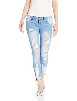 Cover Girl Plus Size Cute Mid High Rise Waisted Ripped Torn Skinny Blue Juniors
