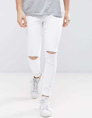 Asos Extreme Super Skinny Jeans With Double Knee Rips In White
