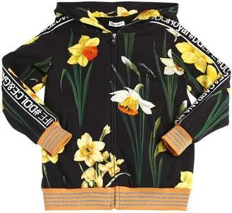 Dolce & Gabbana Floral Print Interlock Sweatshirt Hoodie