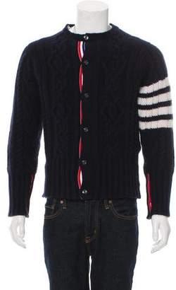 Thom Browne 4-Bar Striped Cashmere Cardigan