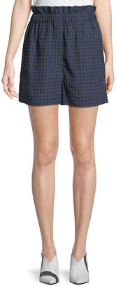 Tibi Gingham-Print Ruffle Pull-On Shorts
