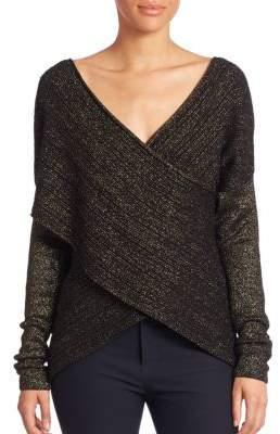 Derek Lam 10 Crosby Long Sleeve Cross-Front Sweater