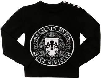 Balmain Logo Crest Cotton Knit Sweater