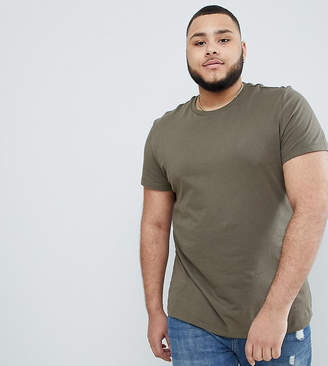 Asos DESIGN Plus t-shirt with crew neck in khaki