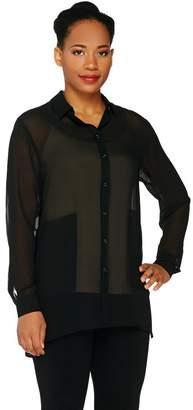 Susan Graver Sheer Chiffon Button Front Shirt with Pockets