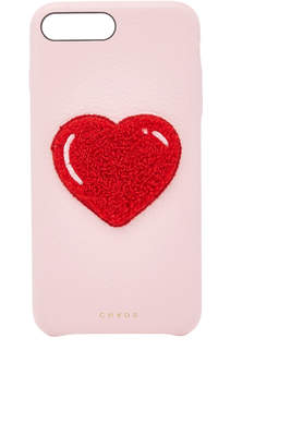 Chaos M'O Exclusive Embroidered Chenille Heart Leather iPhone X Case