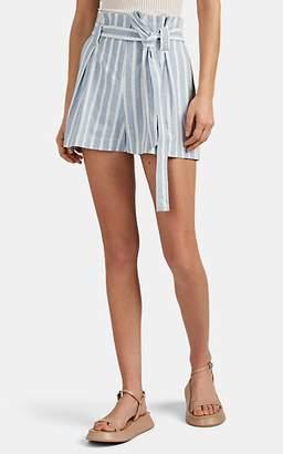 L'Agence Women's Alex Striped Linen-Cotton Paperbag Shorts