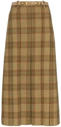 Gucci logo belt check wool skirt
