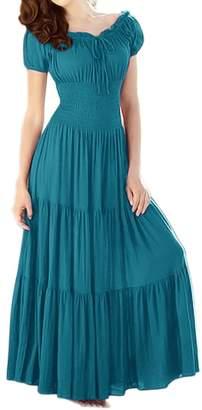Couture Peach Gypsy Boho Cap Sleeves Smocked Waist Tiered Renaissance Maxi Dress ( M)